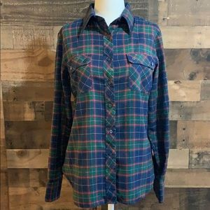 Vintage French Accent Plaid Flannel Button Down